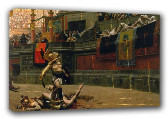 Gerome, Jean Leon: Gladiator in the Arena/Pollice Verso (Thumbs Down). Fine Art Canvas. Sizes: A3/A2/A1 (00616)
